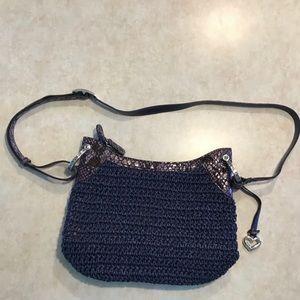 Brighton Addison Straw And Python Shoulder Bag